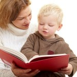 Parent child reading book