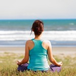 woman meditating stress can lower risk of aphthous ulcers or canker sores